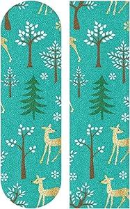 Gold Glitter Deer Blue Skateboard Vinyl Non-Slip Sandpaper Sticker Decal Skateboarding Gift