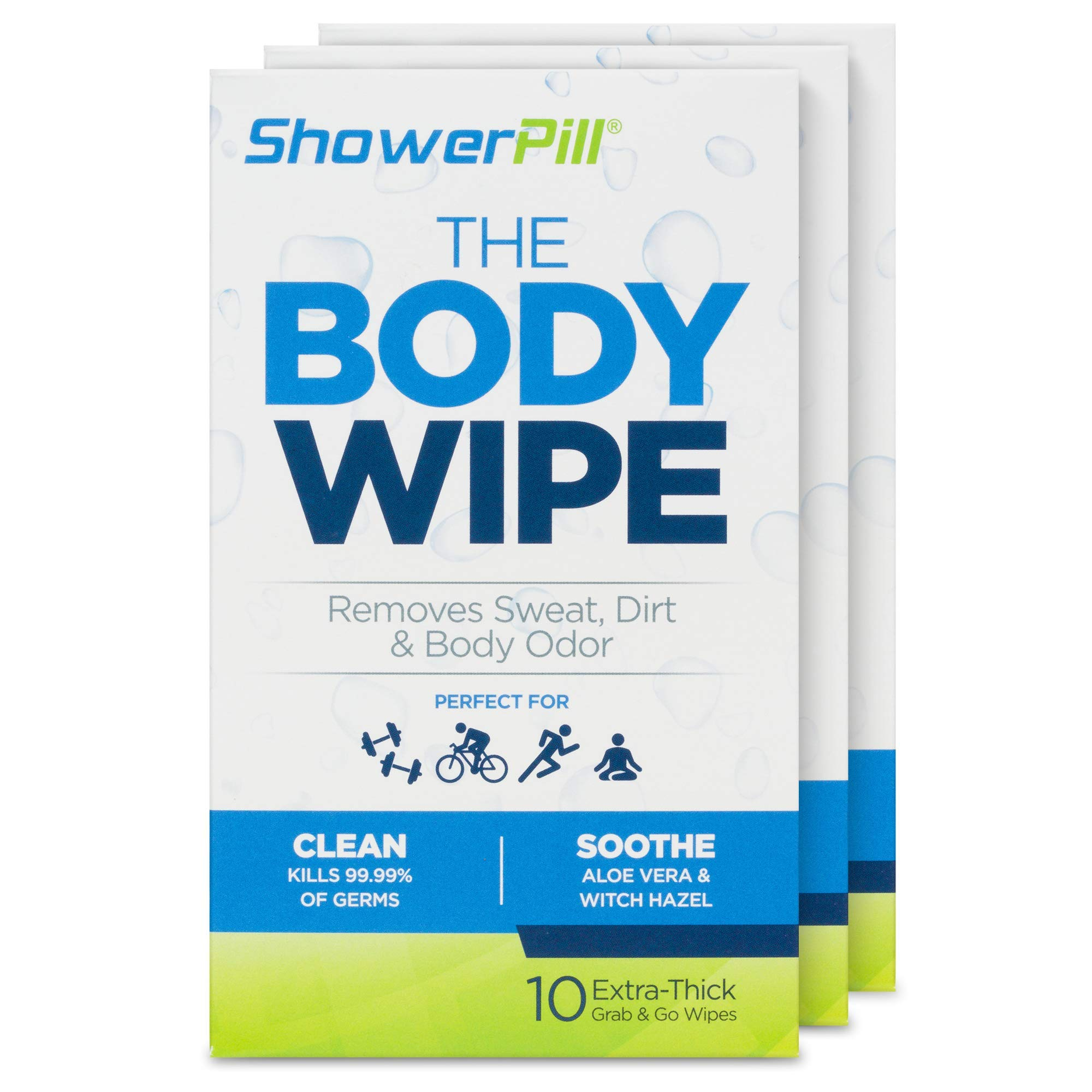 The Body Wipe by ShowerPill - No Shower Wipes for Adults for Post-Workout or Camping Bathing - 30 Individually Wrapped Wipes by ShowerPill