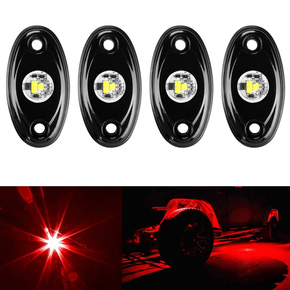 Amak 4 Pods LED Rock Light Kit for Jeep ATV SUV Offroad Car Truck Boat Underbody Glow Trail Rig Lamp Underglow LED Neon Lights Waterproof - White 6255975