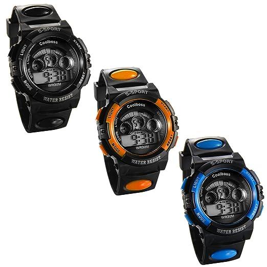 JewelryWe 3PCS Relojes de Pulsera para Niños Niñas Infantil, Reloj Digital Deportivo Militar Con Luz de Fondo, Multifunciones Relojes para Chicos Chicas: ...