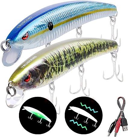 LED Twitching Fishing Lures Bait USB Rechargeable Flashing Vibrate Treble Hooks