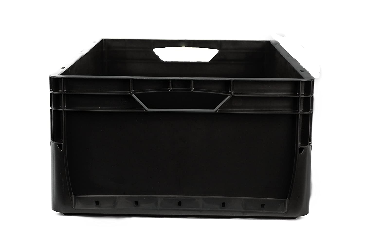 3 x 66 Litre Euronorm Eco Industrial Plastic Stacking Euro Storage Containers Boxes Crates BLACK