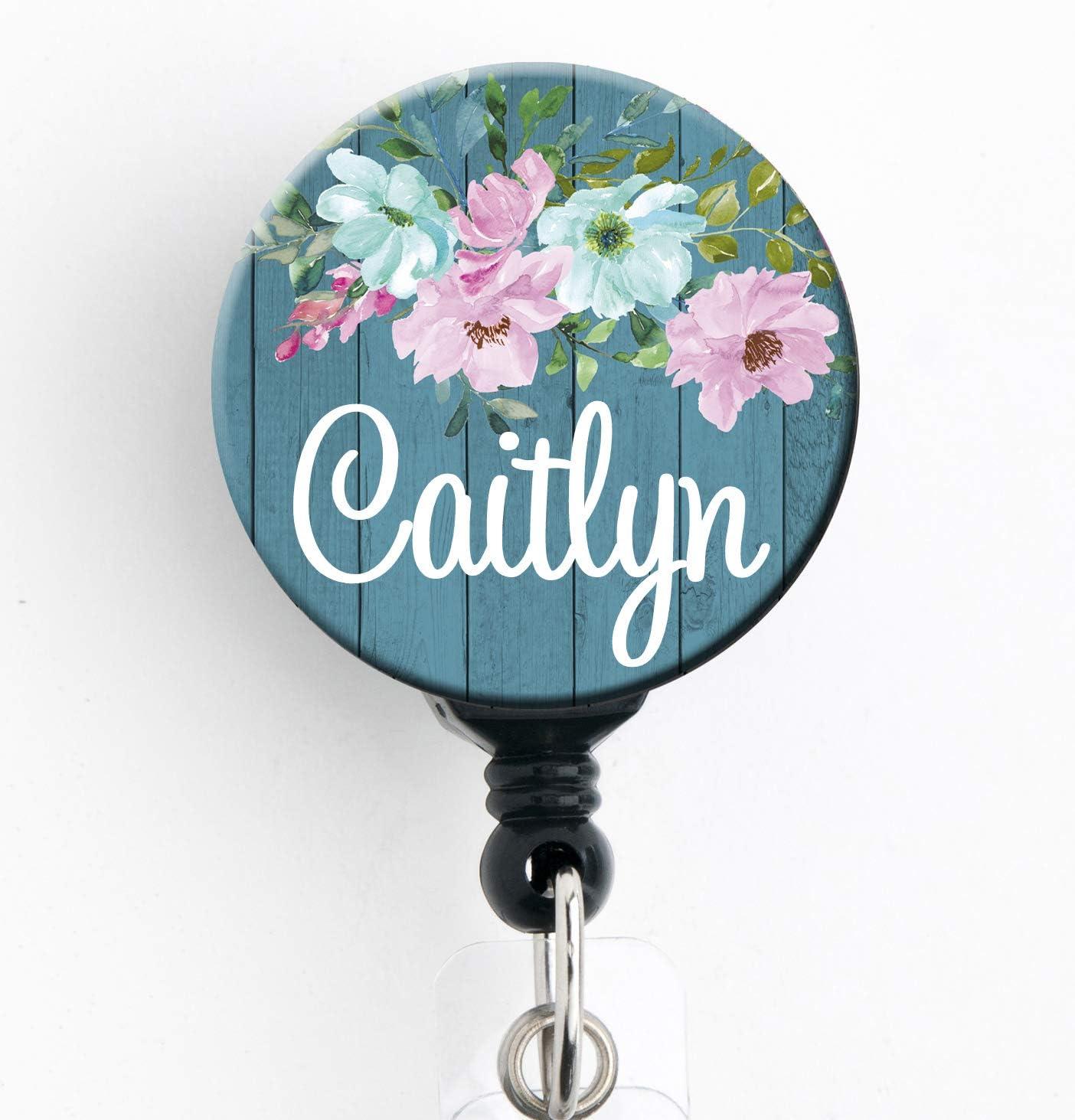 Minty Chevron Monogrammed Retractable ID Badge Reel