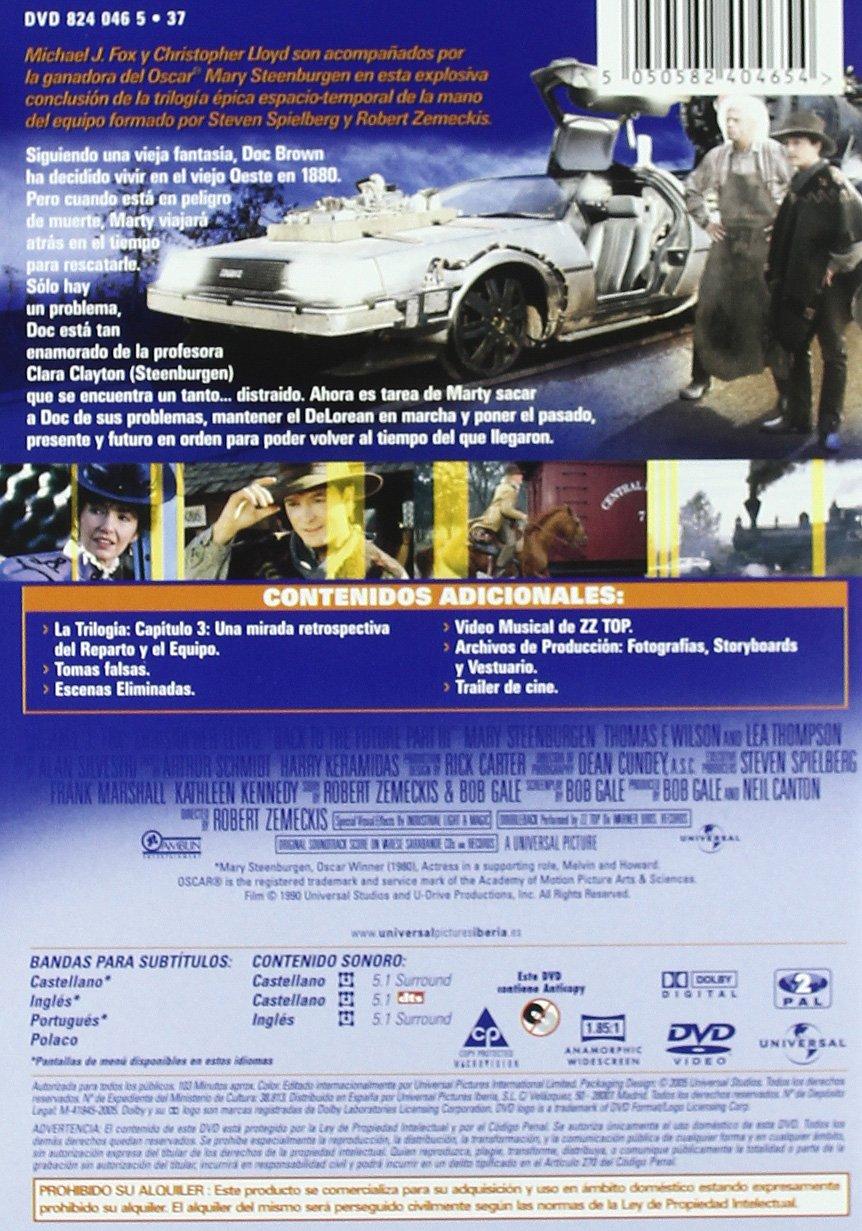 Regreso Al Futuro III [DVD]: Amazon.es: Michael J Fox, Christopher Lloyd, Mary Steenburgen, Thomas F Wilson, Lea Thompson, Robert Zemeckis: Cine y Series TV