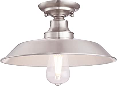 Westinghouse Lighting 63702 Iron Hill 30 cm, One-Light Indoor Semi-Flush Mount Ceiling Fixture, Brushed Nickel Finish