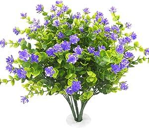 Beebel Artificial Flower Plants for Home Kitchen Dining Room Hanging Planter Garden,4 Bundles/Purple