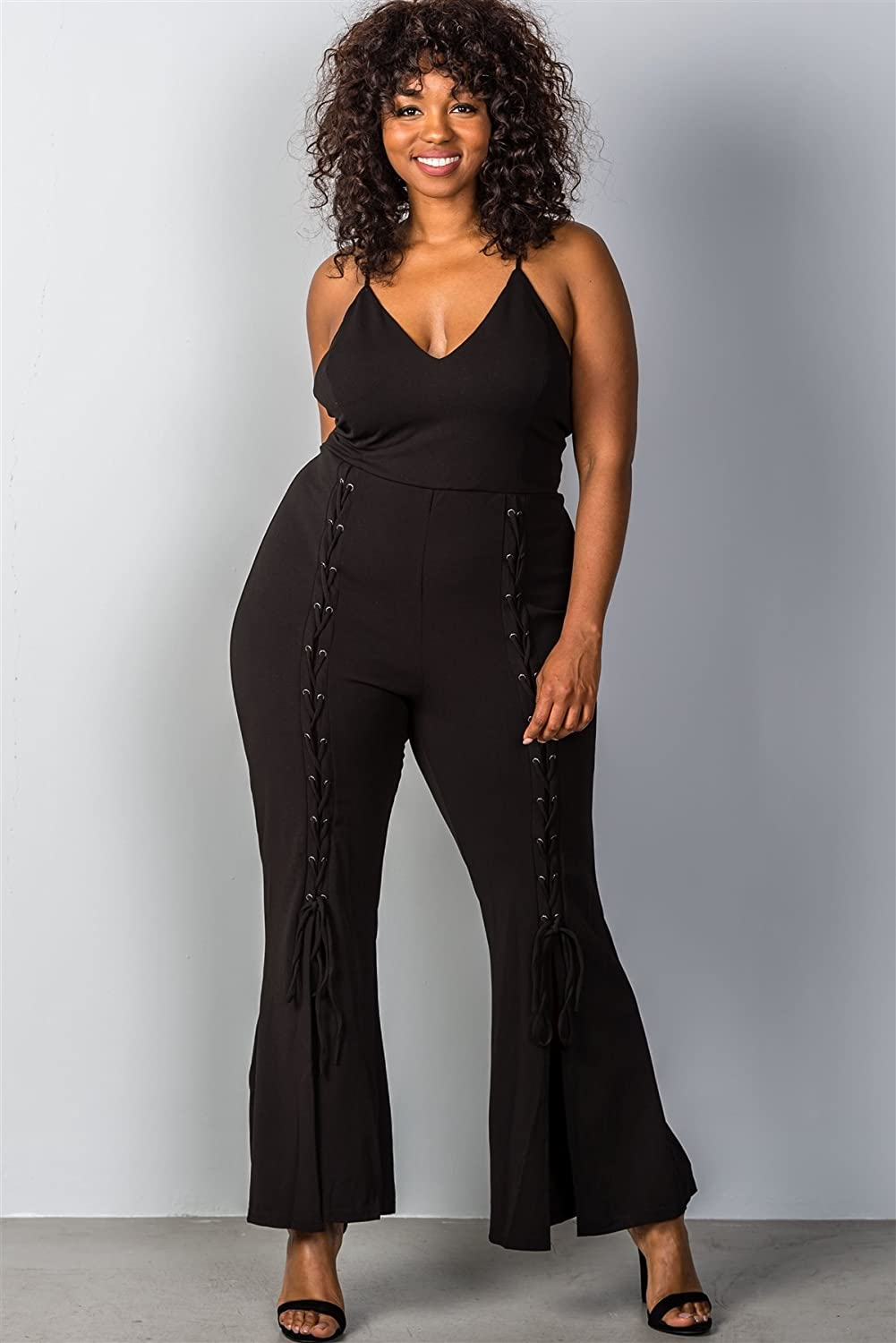 e69889adc Top2: Ladies Fashion Plus Size Lace up Split Leg Plus Size Jumpsuit
