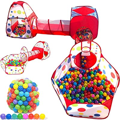 Playz 5-Piece Kids Play Tent, Tunnel and 500 Ball Pit Balls Bundle: Toys & Games [5Bkhe1402839]