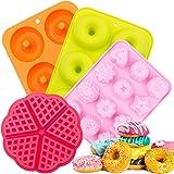 Silicone Donut Baking Pan,SPLAKS 4pcs Non-Stick Silicone BPA Free Molds Food-Safe Silicone Baking Tray Maker Pan Heat…