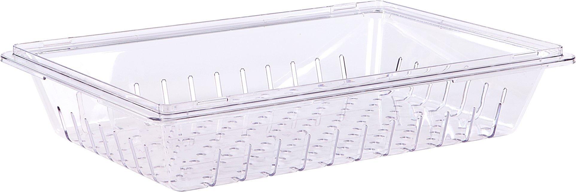 Carlisle 1062807 StorPlus Stackable Food Storage Colander, 26'' x 18'' x 5'', Clear (Pack of 6)