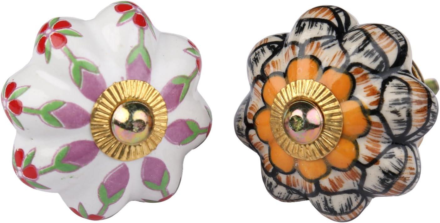 Keramik Knauf fur Schrank Kommode Garderobenbeschl/äge Handgemacht Schubladengriffe Innenausstattung K/üchent/ür Blumen Dekoration Set mit 6 Mehrfarbigen Knobs T/ürgriffe Schubladen