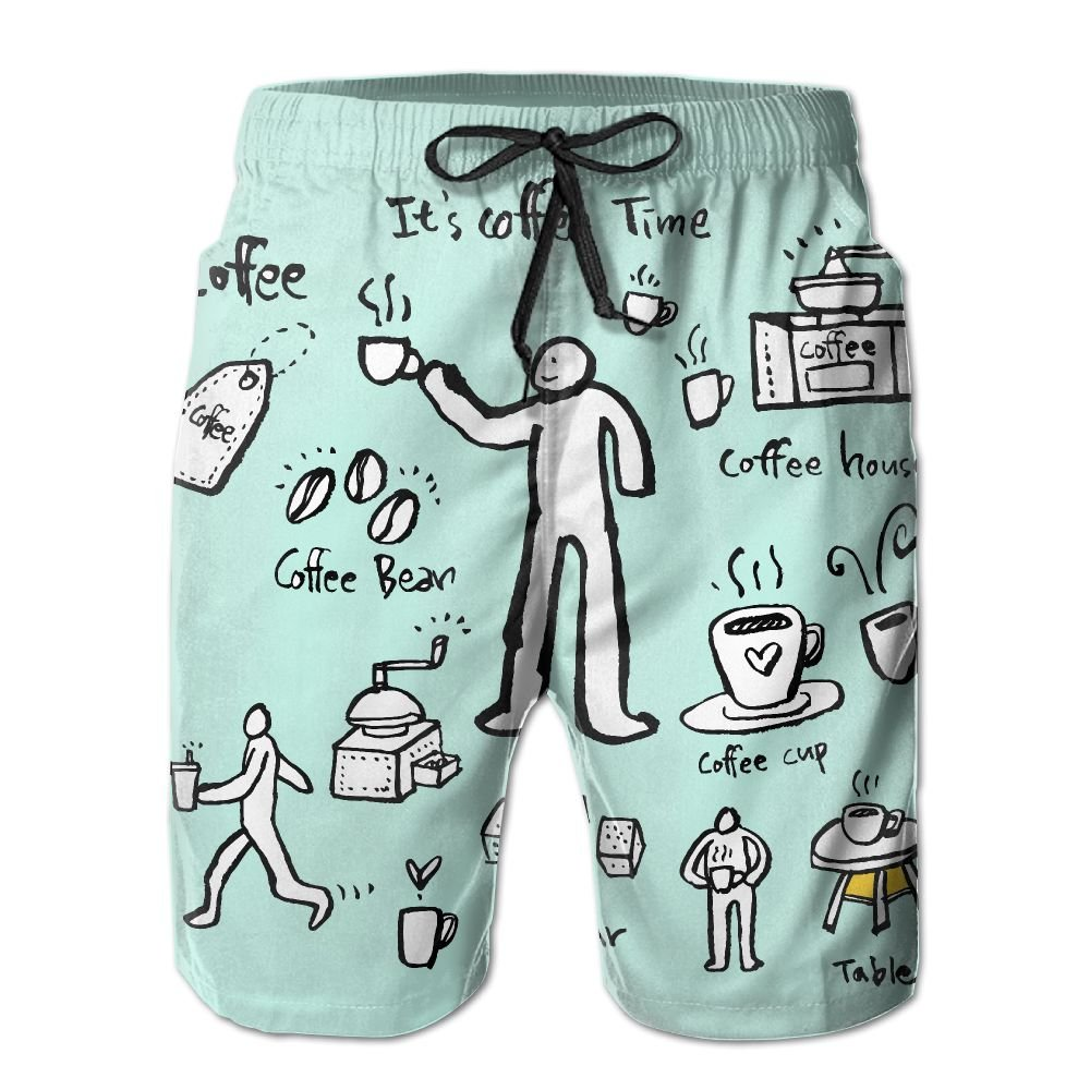 ZAPAGE Man Quick Dry Boardshorts Its Coffee Time Surf Shorts With Pockets