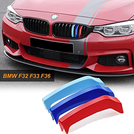 3e83370c3549 Amazon.com  Xotic Tech 1 set M-Colored Kidney Grille Insert Trim TRI Color  M Sport Strips Grill Beam for BMW 4 Series F32 F33 F36 (9-beam Black curved  ...