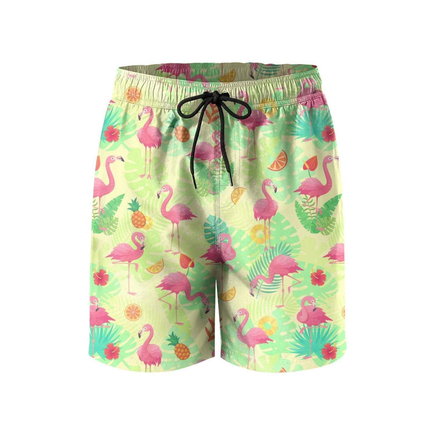 Pineapples and Pink Flamingos Pattern Mens Board//Beach Shorts Dry Fit Swim Trunks