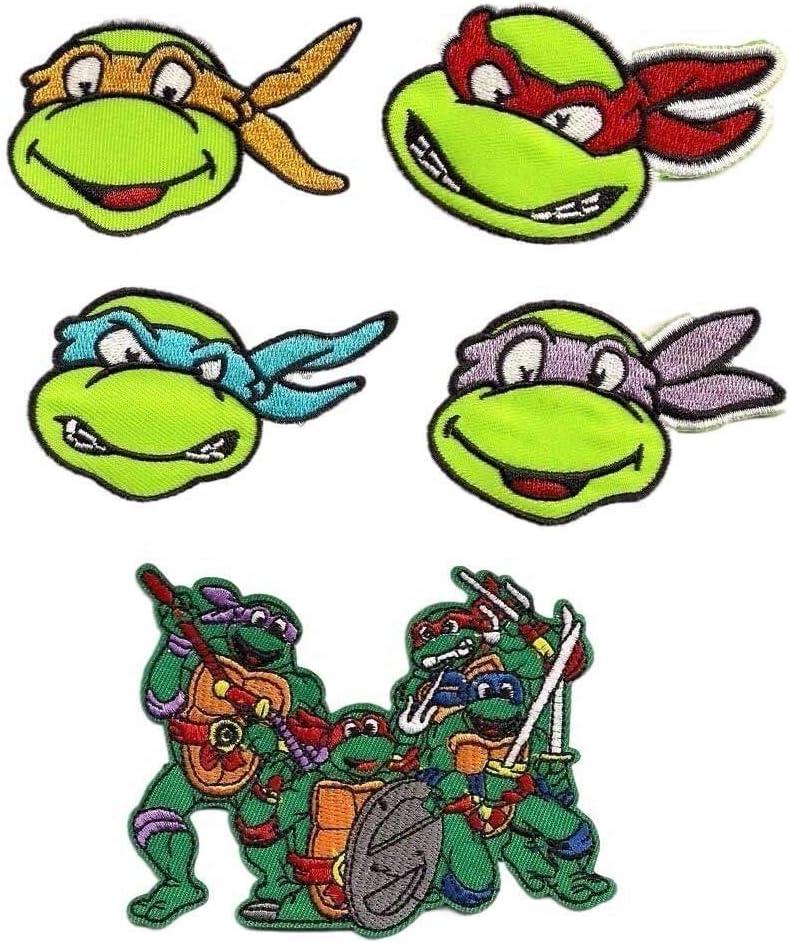 Teenage Mutant Ninja Turtles Embroidered Iron on Patch Set of 5