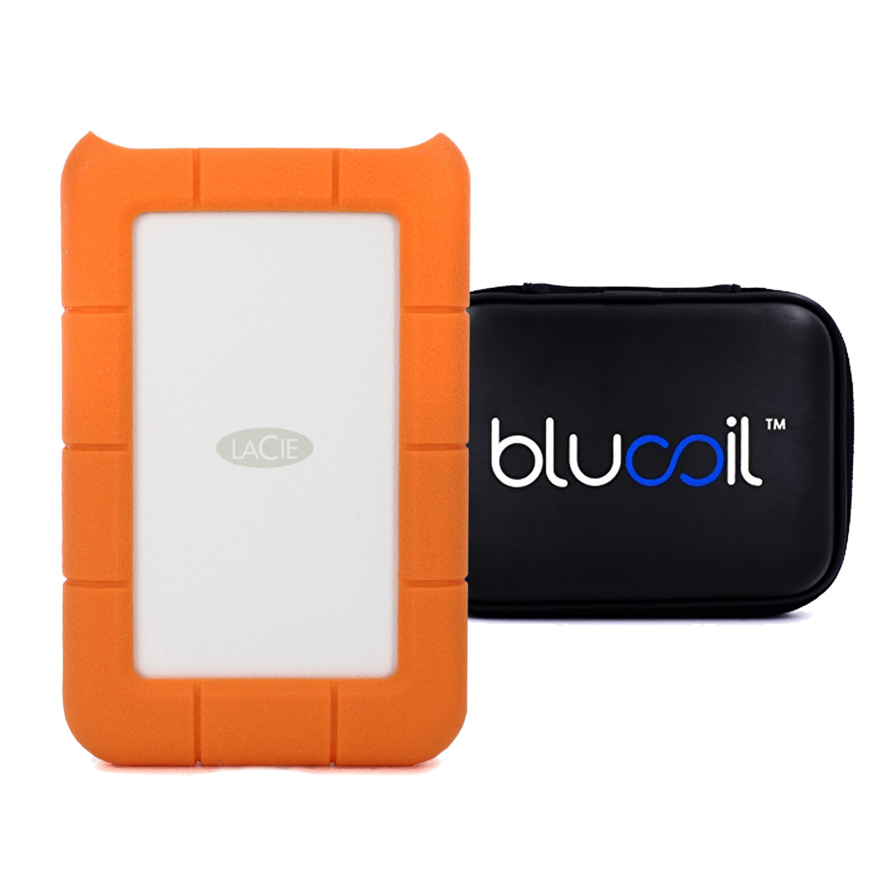 LaCie 2TB Rugged Mini Portable Hard Drive (9000298) USB 3.0 PLUS Blucoil Hard Drive Case - VALUE BUNDLE by blucoil