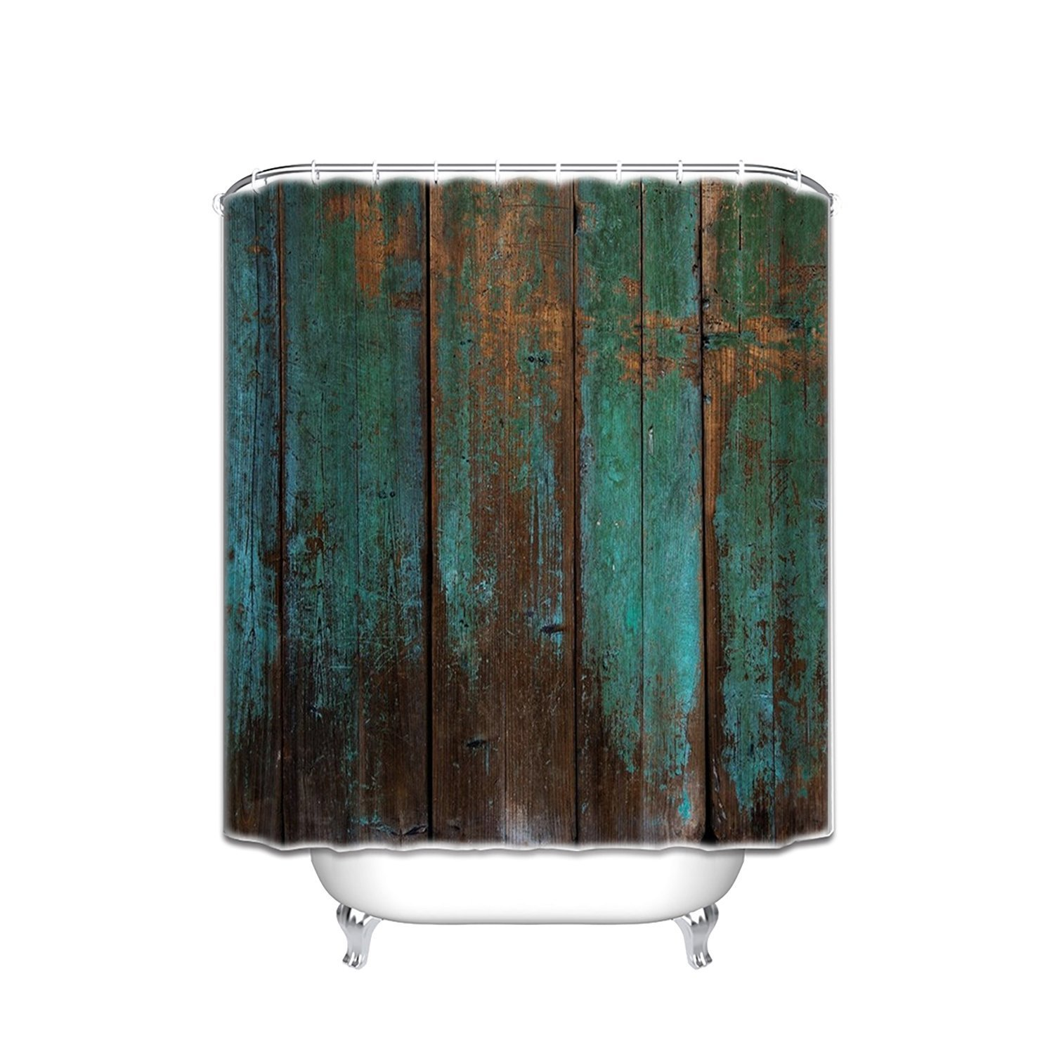 Country Rustic Distressed Teal Green Barn Wood Waterproof Shower Curtain Set,Bathroom Decor Hooks are Included 48x72 Inches