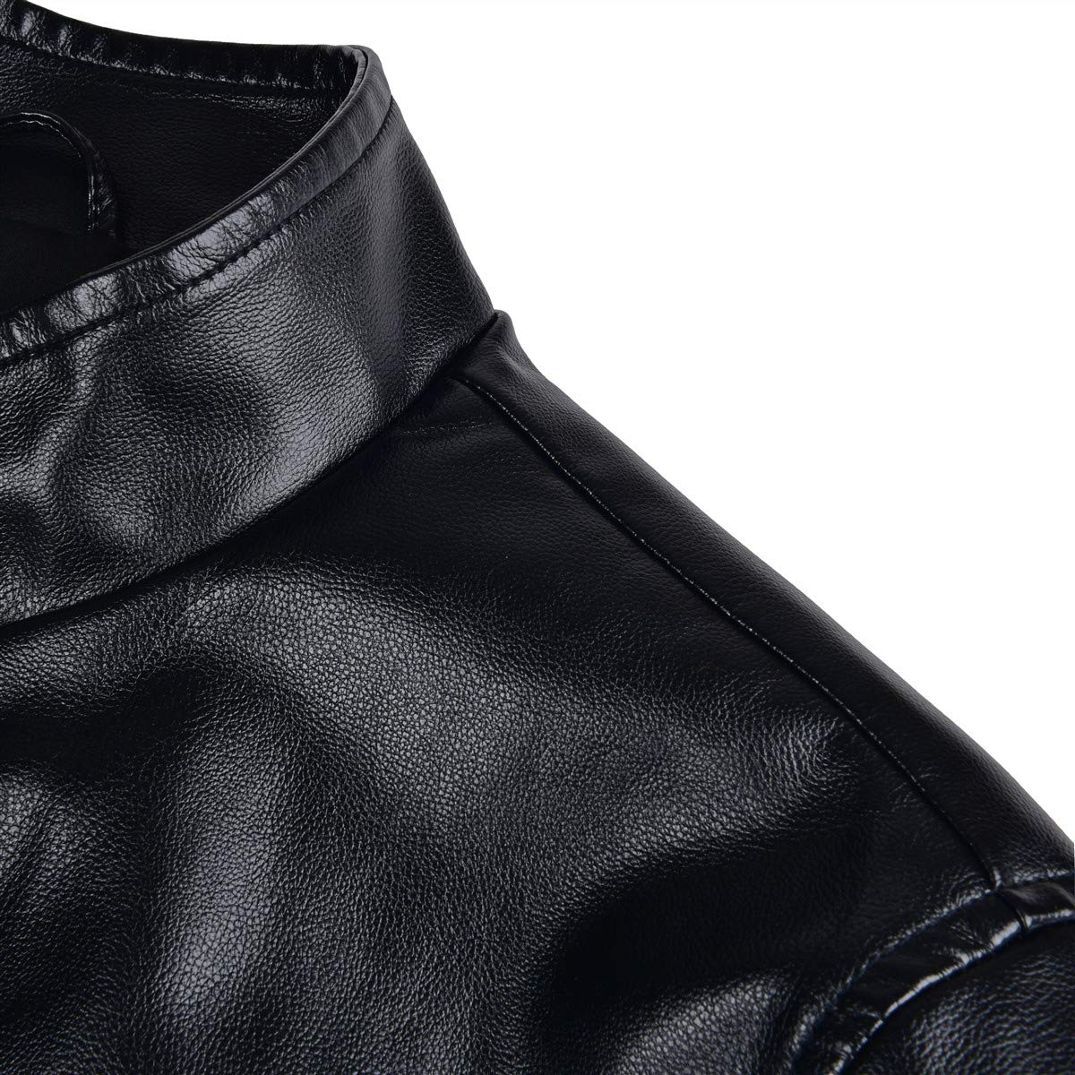 FEICUI Mens Faux Leather Jacket Casual Stand Collar PU Leather Outwear