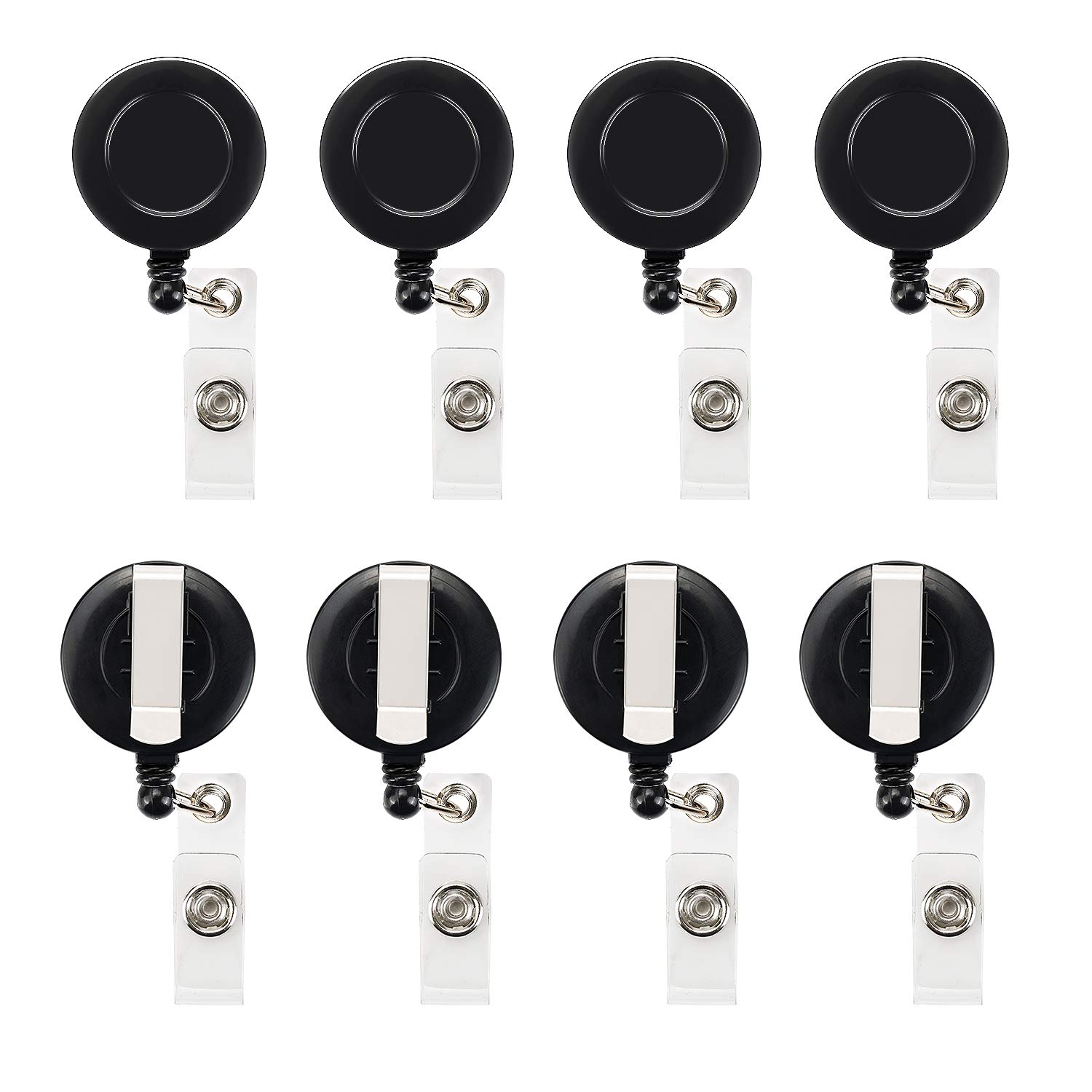 40 Pcs Retractable Badge Reel Clips Holder for Hanging ID Card Key Chain (Black)