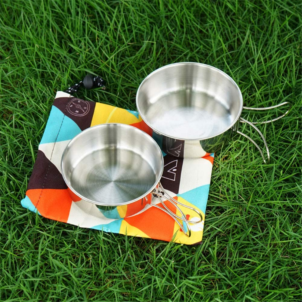 Portable Small Steel Bowl Cutlery Set with Storage Bag for Hiking Backpacker Camping Outdoor Picnic 304 Stainless Steel 2-Piece Bowl Mini Folding Bowl
