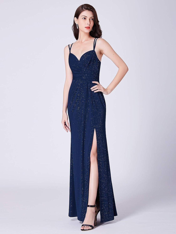 Ever-Pretty Vestito da Sera Donna Lungo Elastico Brillante Spaccato V-Collo 07417