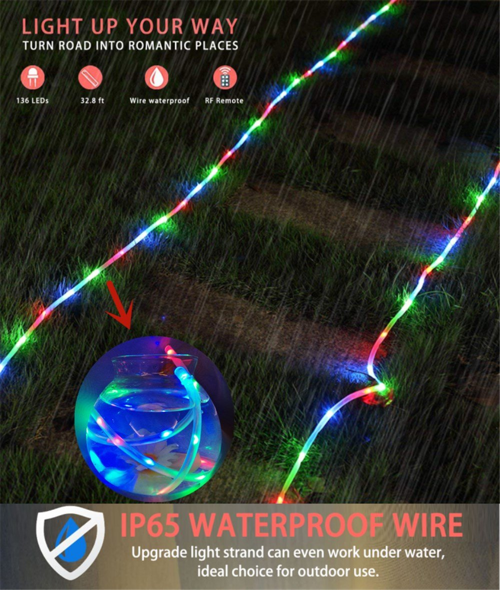 Zinuo LED String Rope Lights 33FT 136 LED Waterproof Outdoor Rope Lights, RF Remote, 8 Modes/Timer, Multi Color Patio Lights for Gardens Parties Wedding Holiday Decor (A Power Adaptor Included) by Zinuo (Image #3)