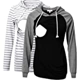 Bhome 2pcs Nursing Shirt Long Sleeves Hoodie Breastfeeding Top Sweatshirt