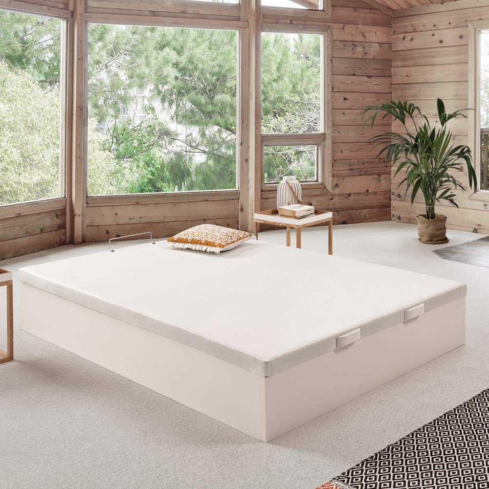 Komfortland Canapé abatible Wood Medida 135x200 cm Color Blanco (Montaje Incluido): Amazon.es: Hogar