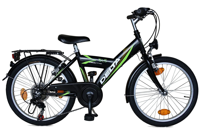 Kinderfahrrad 20 Zoll DELTA Fahrrad 6 Gang Shimano Schaltung StVZO tauglich schwarz grün
