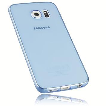 mumbi Schutzhülle Samsung Galaxy S6 Edge Hülle transparent blau (Ultra Slim - 0.55 mm)