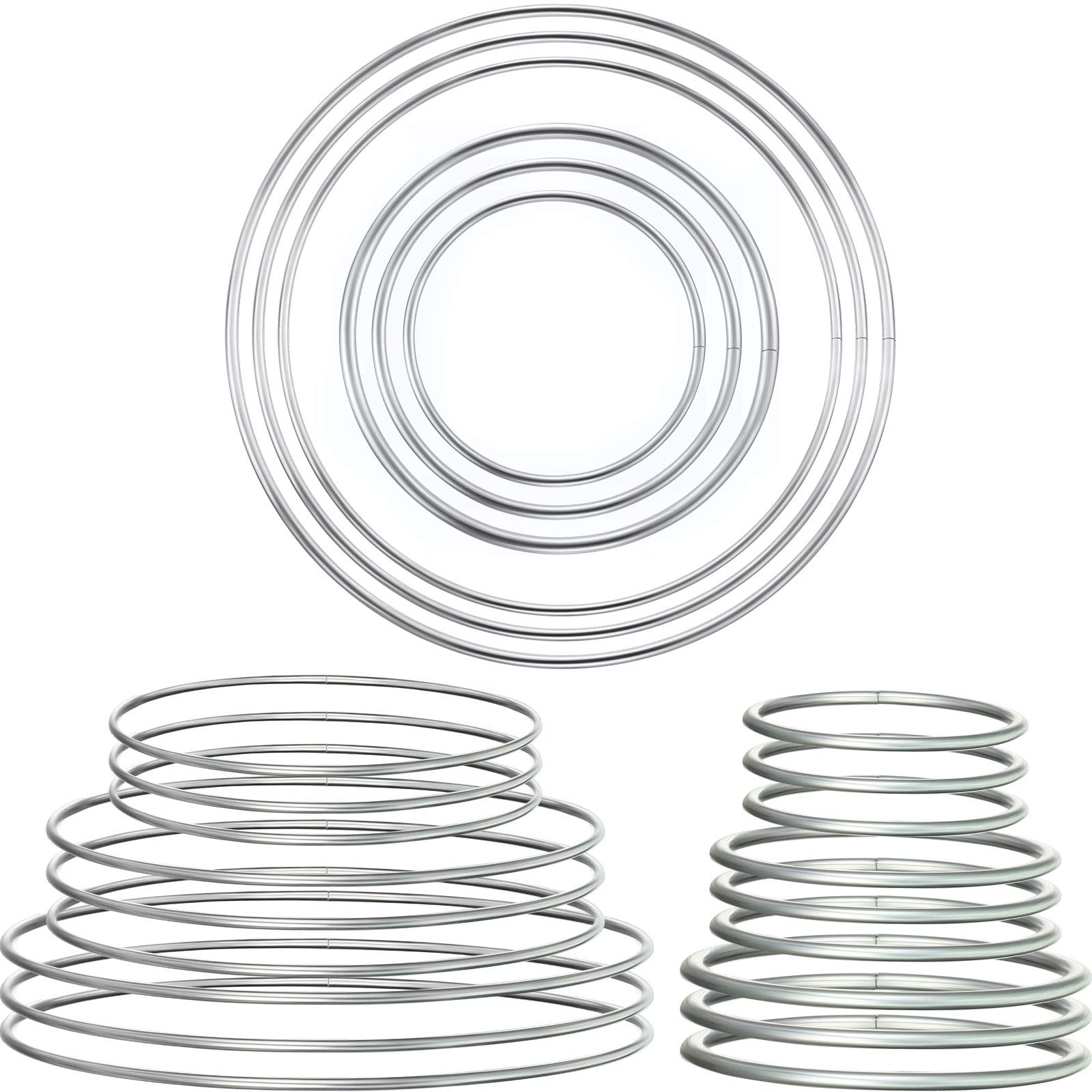 24 Pieces Metal Rings Hoops Metal Dream Catcher Rings Metal Macrame Rings Steel Craft Rings Metal Floral Hoop for Wreaths Macrame Projects (Silver, 3/5/ 7/10/ 14/16 cm)