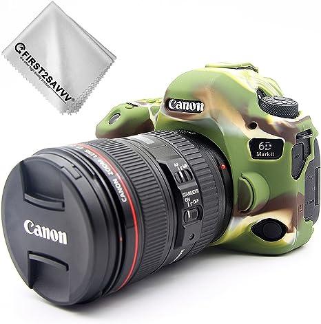 First2savvv Verde Cuerpo Completo Caucho de TPU Funda Estuche Silicona para cámara para Canon EOS 6D Mark II 6D MK II + paño de Limpieza XJPT-6D Mark II-GJ-06G11: Amazon.es: Electrónica
