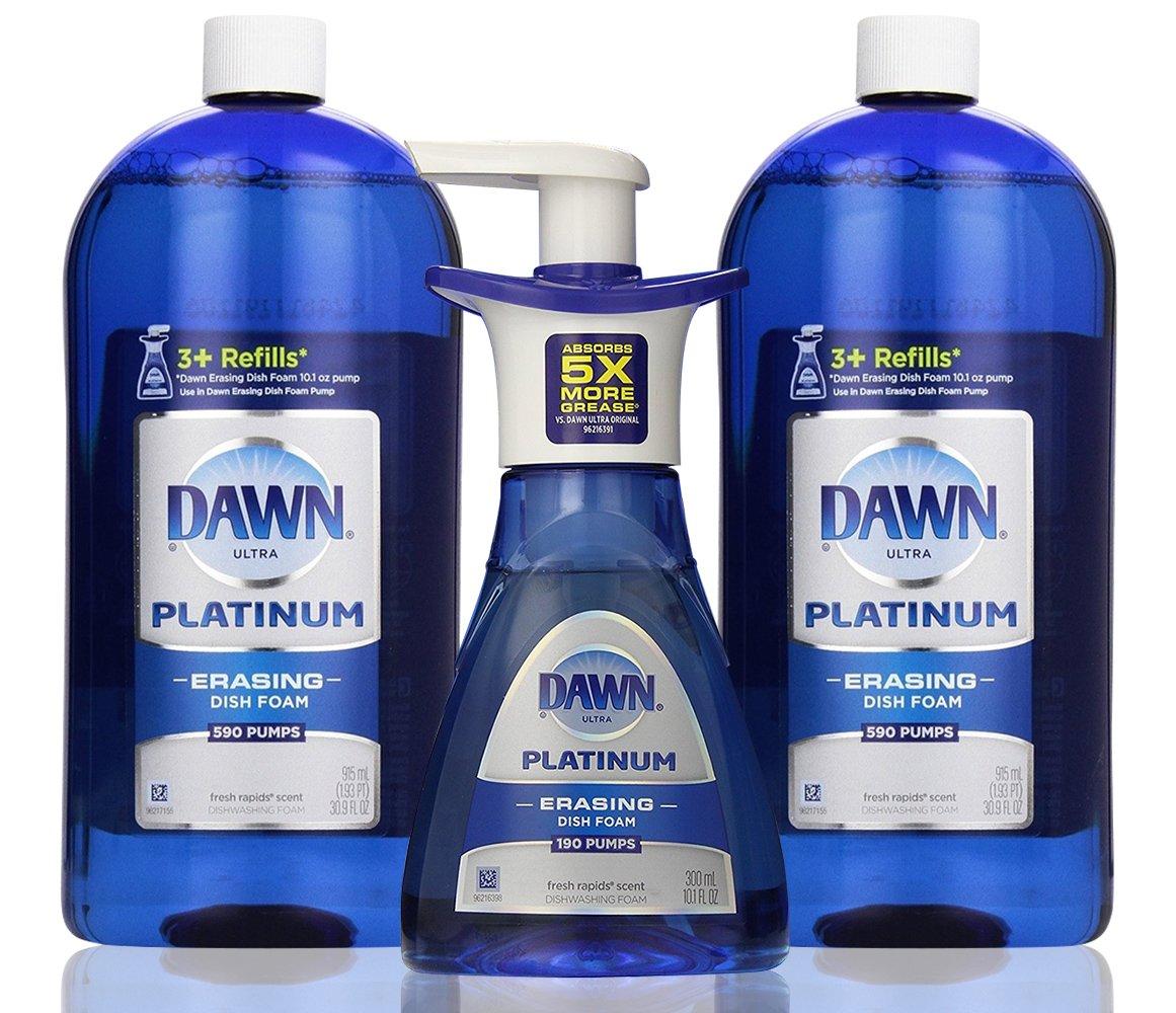 Dawn Platinum Erasing Dish Foam Bundle, 2 Refills and Pump, Fresh Rapids Scent, 30.9 Fluid Ounce (2 PACK and PUMP)