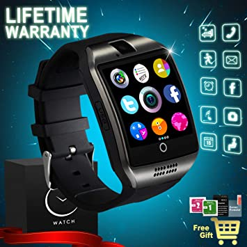 Reloj Inteligente Bluetooth, Smartwatch con Camara Impermeable Smart Watch SIM/TF Ranura Whatsapp Sports Podómetro Pantalla Táctil Reloj Bracelet para ...