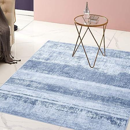 Knit Look Stylish Rug Grey Ocean Blue Mat Scandinavian Finish Living Room Carpet