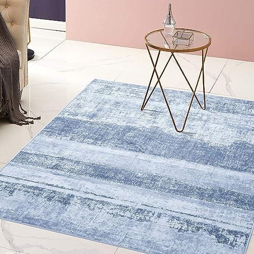 jinchan Area Rug 4 x 6 7 Abstract Blue Carpet for Bedroom Indoor Soft Mat Modern Floorcover for Kitchen Living Room