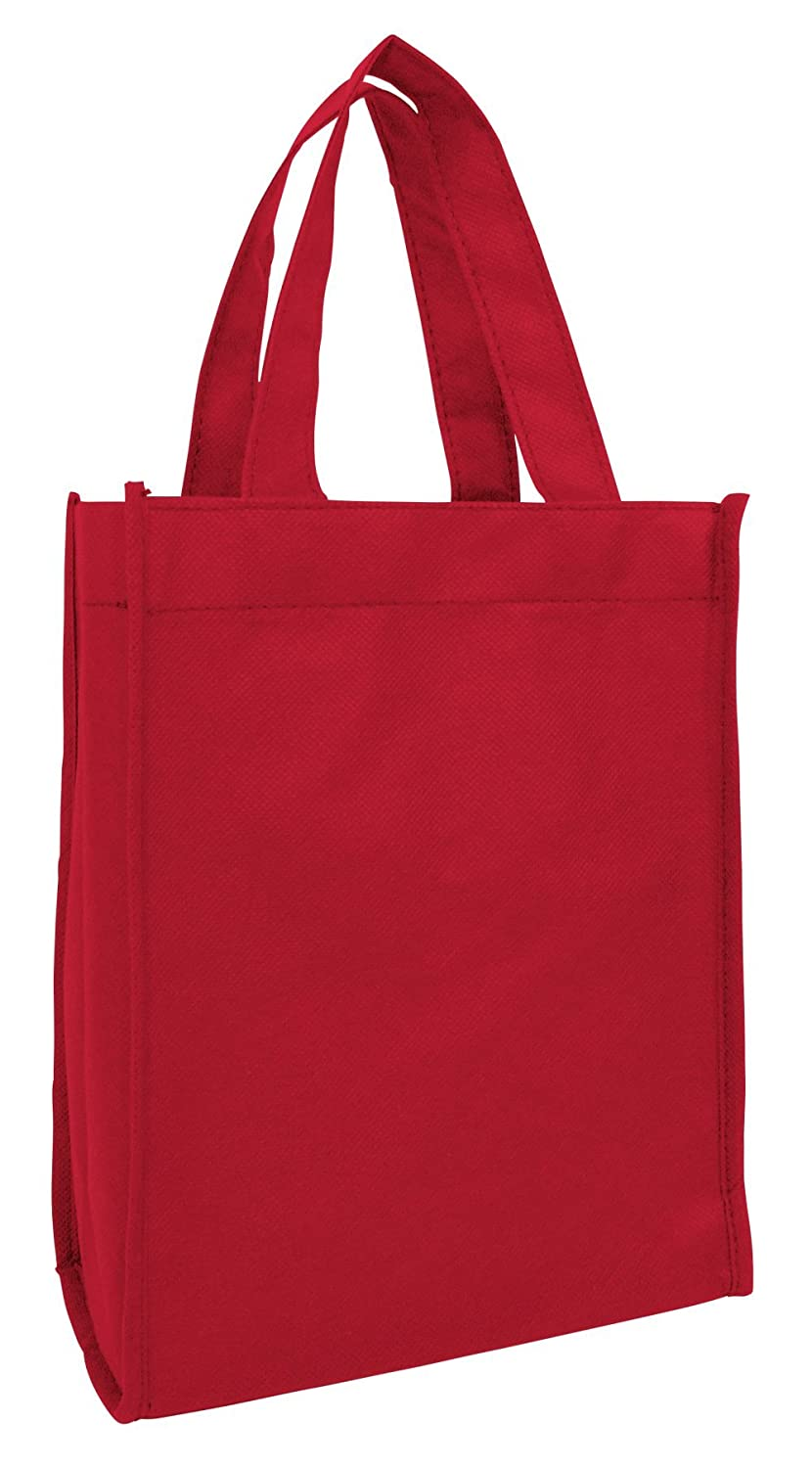 Set of 12- Small Gift Tote Bag Book Bag Bulk Non Woven Bag Multipurpose Art Craft Christmas, Valentine's day Gift Bags (Red) by ToteBagFactory B01I09DJEG レッド レッド