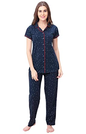 20c4f1043b ZEYO Women s Cotton Heart Printed Night Suit Top and Pyjama Set (Navy and  Red