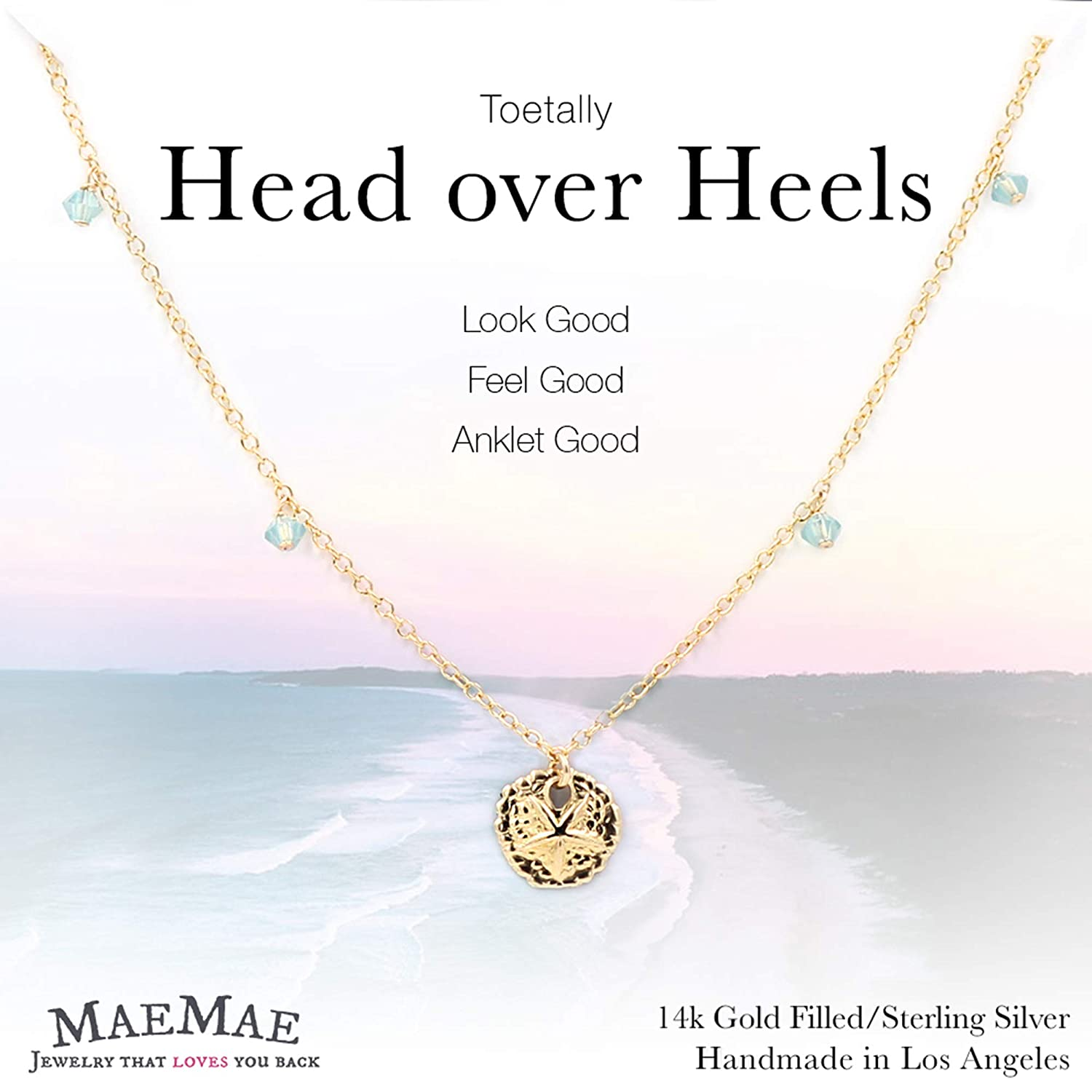 MaeMae 14k Gold Filled Sand Dollar Charm Anklet, 3mm Swarovski Crystals, Cable Chain, 8.5+1 Extender 8.5+1 Extender MaeMae Jewelry
