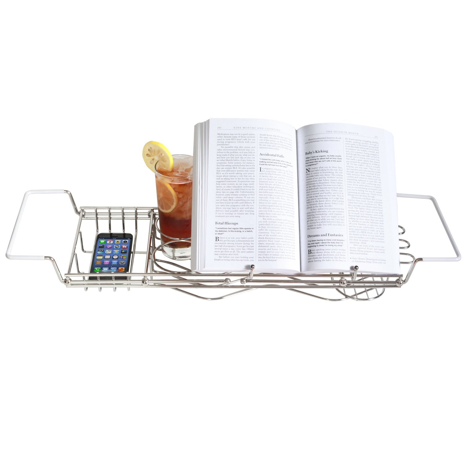 stainless steel bathtub caddy with extending sides and