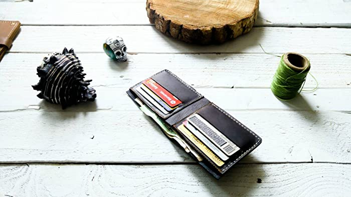 Amazon.com: Dark Brown wallet | mens wallet | Gift | without logo| father | boyfriend | card holder | Cartera hombre piel para tarjetas hecha a mano cuero: ...