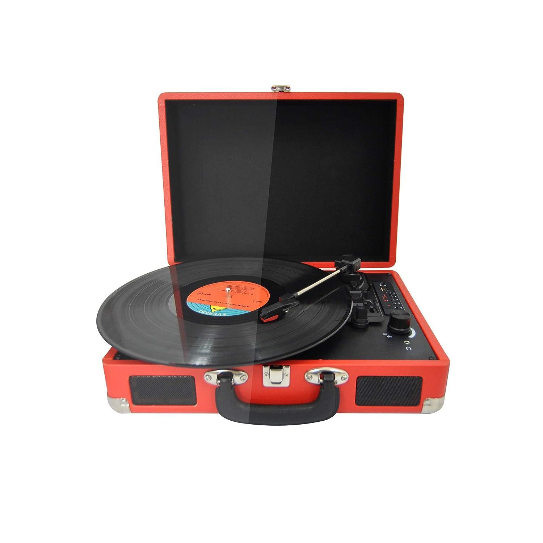 PRIXTON - Tocadiscos de Vinilo Vintage, Reproductor de Vinilo y Reproductor de Musica Mediante Bluetooth y USB, 2 Altavoces Incorporados, Diseño de ...