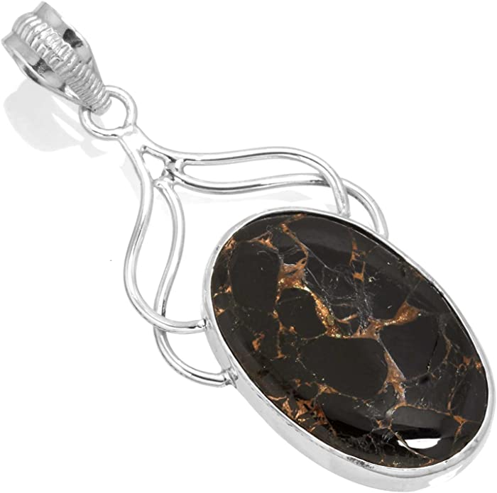 Solid 925 Sterling Silver Handcrafted Jewelry Natural Copper Black Onyx Gemstone Pendant