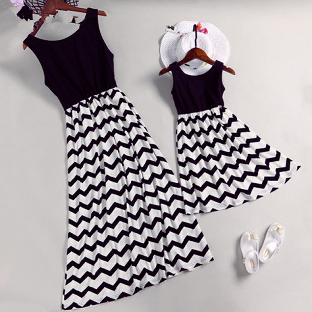 Lurryly Family Matching Mom Baby Girls Dress Wave Striped Print Outfits Family Clothes by Lurryly (Image #2)