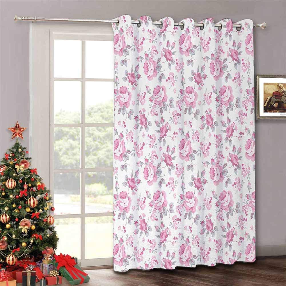 Shabby Chic - Insulated Sliding Door Curtain Pink Roses with Grey Leaves Garden Bedding Plants Spring Blossoms - Thermal Blackout Patio Door Curtain Panel W100 x L84 Inch Pale Pink White Grey