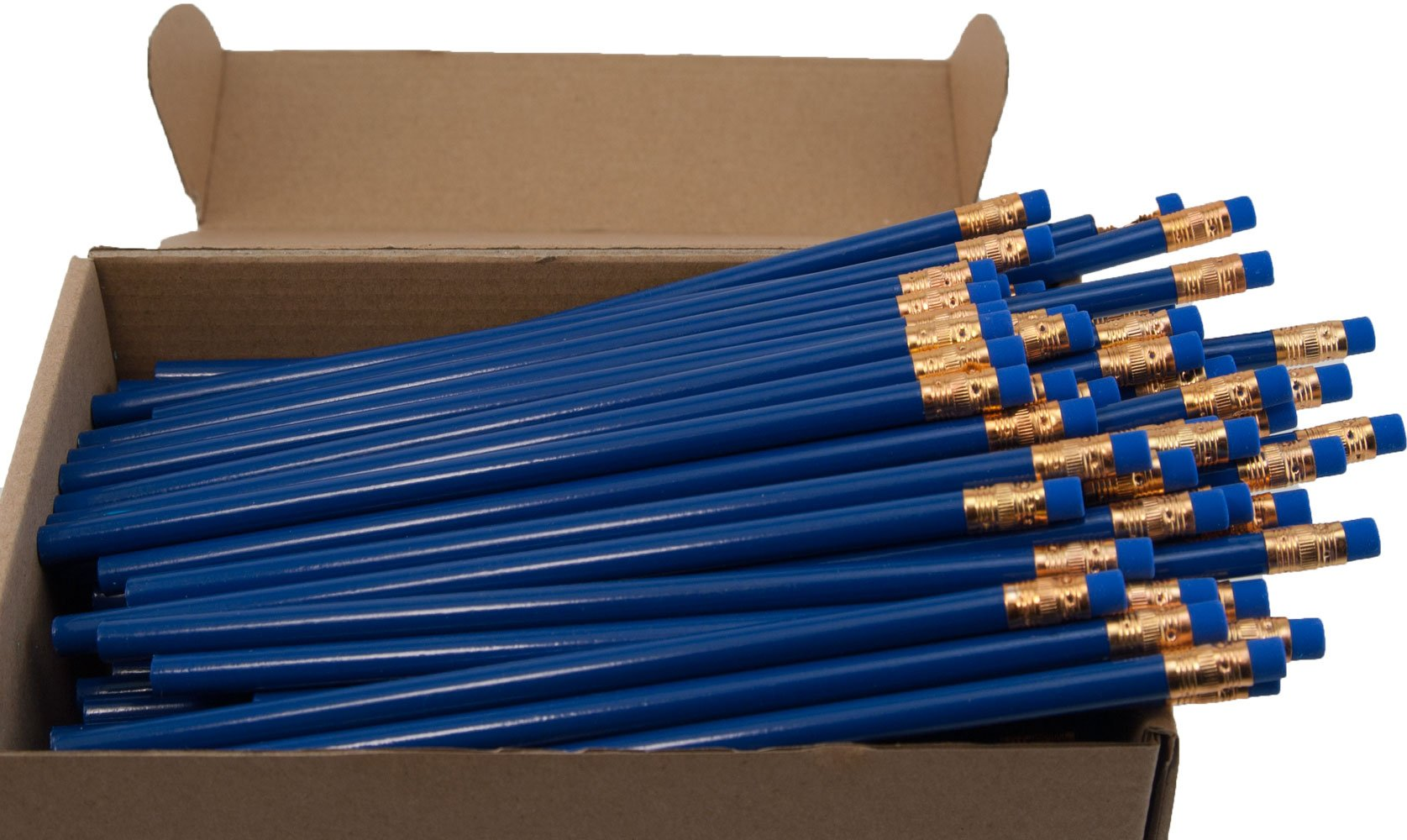Recycled Newspaper Pencil (Royal Blue) (Full Size Round Painted Pencils) (Earth Friendly Pencil) (Latex Free Eraser) (HB Number 2 Lead ) (Box of 144)