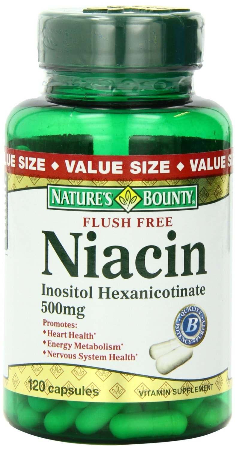 Nature's Bounty Flush Free Niacin 500 Mg, 120-Count (Pack of 4) , Bounty -5y