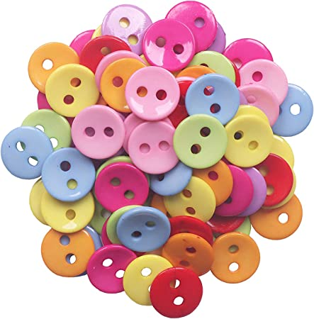 YAKA 100pcs Mix Round 28mm 2 Holes Plastic Button/Sewing DIY Crafts Children's Manual Button Painting, DIY Handmade Ornament