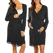 Ekouaer Labor Robes Breastfeeding Bathrobe Delivery Sleepwear Nursing Loungewear for Women(Black/M)