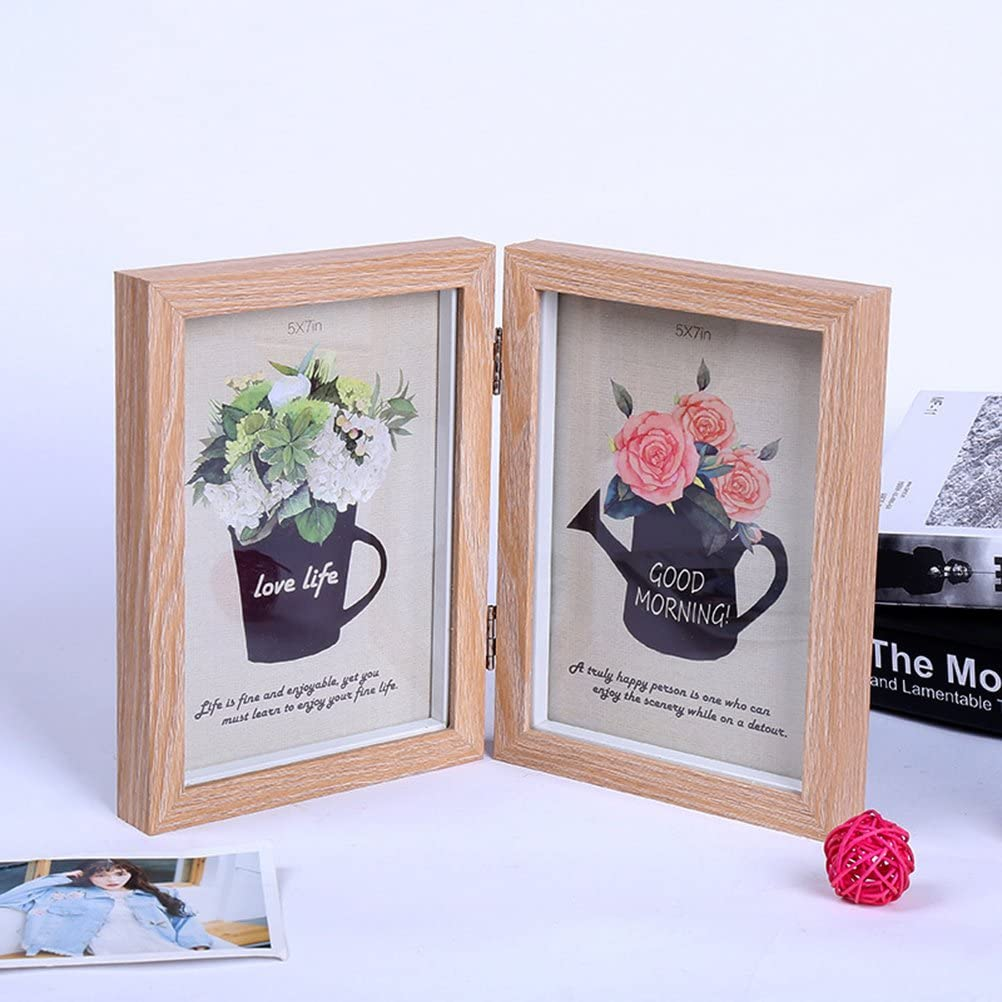 couleur en bois jaune VORCOOL Cadre de photo en bois simple 4x6 pouces Cadre de photo rectangulaire double